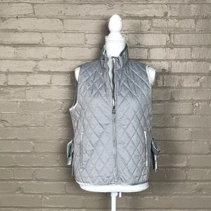 Heather Gray Banana Republic Quilted Vest Sz M